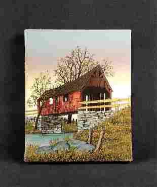 Vintage H. Hargrove Covered Bridge Serigraph