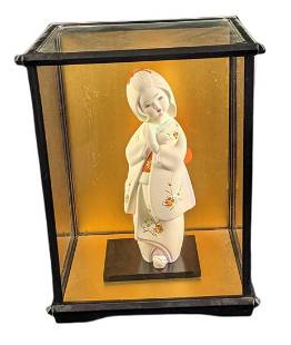 Toyo Hakata Ceramic Geisha Girl With Glass Display Case