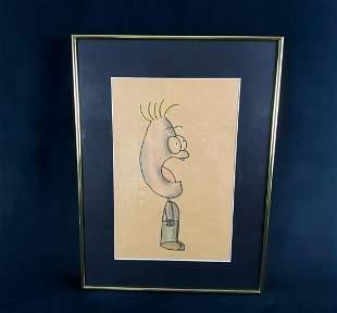 Original Signed Jager Cartoon Framed Sketch (Wl)