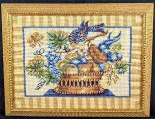 Vintage Needlepoint Folk Art