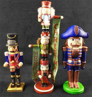 Two Wooden One Ceramic Unique Themed Nutcrackers