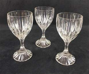 Three Crystal Park Lane Water Goblets By Mikasa