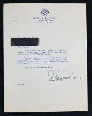 Signed Letter from Allan Shivers, Texas Governor