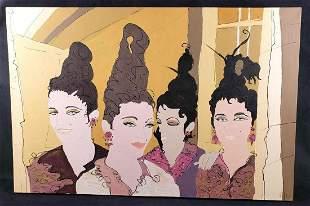 Signed Acrylic Painting of Women