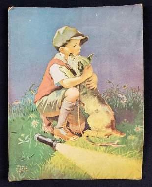 Vintage Frances Tipton Hunter Boy Hugging Dog