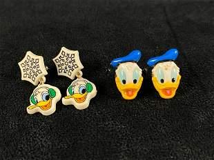 Vintage Disney Donald Duck Earrings