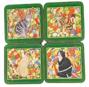 Four Christmas Pimpernel Whimsical Cats Coasters
