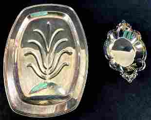 Set of (2) Silver Plates Silver on Copper &
