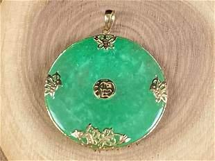 "Vintage 14K Yellow Gold Green Jade "" Luck"" Circle"