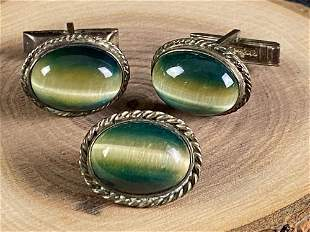 Vintage Unique Handmade Sterling Green Cats Eye