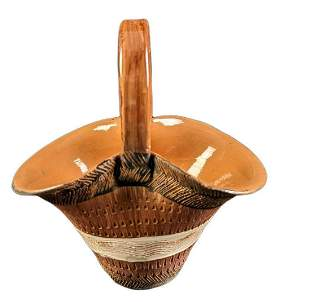 Vintage Ceramic Hand Painted Basket Vase