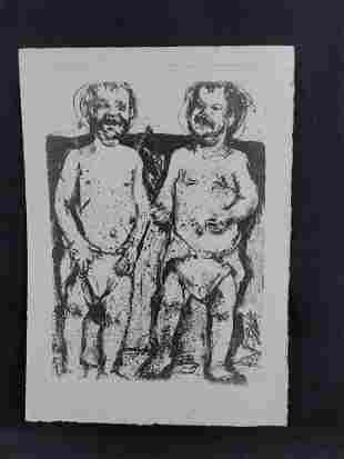 Unsigned Print of Two Men In Diapers