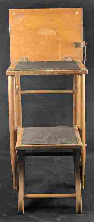 Vintage Stool That Turns Into School Desk W Chair