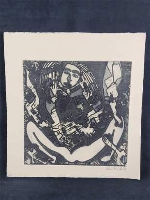Kim Mosley 71 Signed Wood Block Print