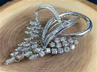 Vintage Custom Platinum VS1 4 Carat Diamond Brooch /