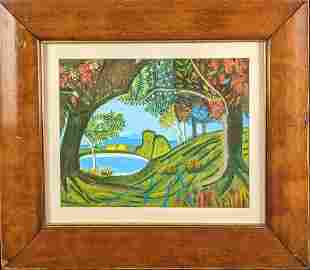 Framed Original Acrylic On Panel Colorful Forest