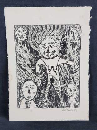 Signed Kim Mosley 71 Wood Block Print