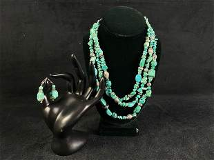 Authentic Chico's Multi Strand Turquoise Necklace &