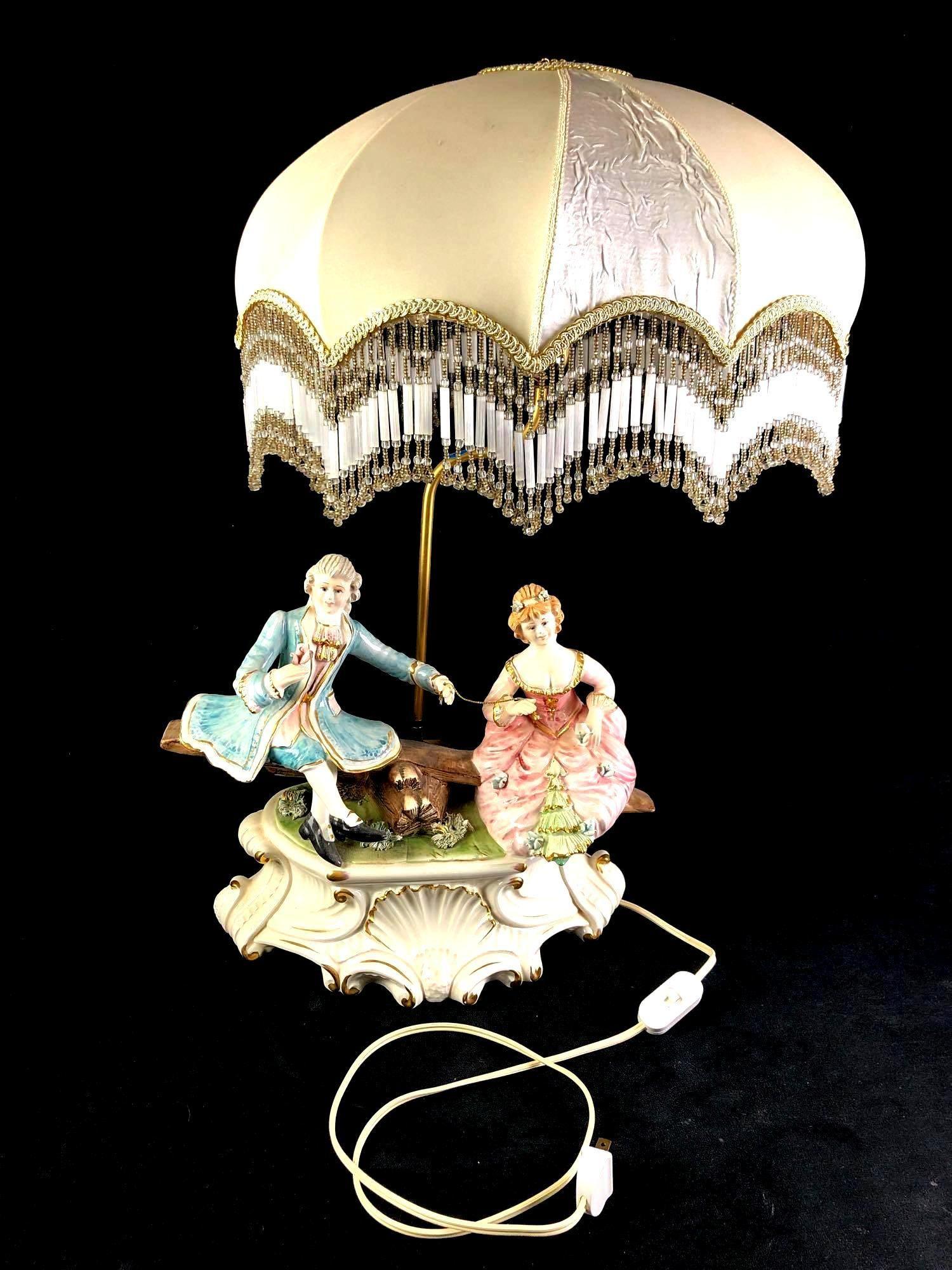 Capo-di-Monte English Couple Lampshade Ceramic Figurine