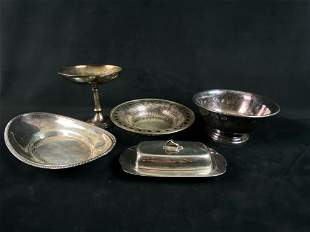 Vintage 5Pc Mixed Lot Of Silver Plate