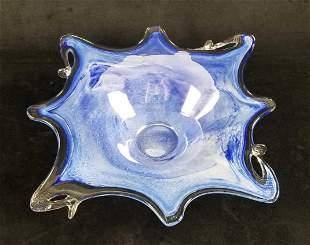 Hand Blown Murano like Vase Blue