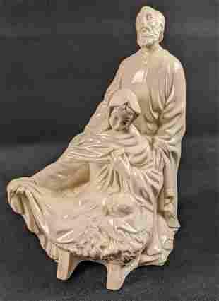 Vintage Off White Ceramic Holy Family Figurine
