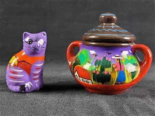 Mexican Folk Art Isodoro Handpainted Ceramic Sugar Bowl