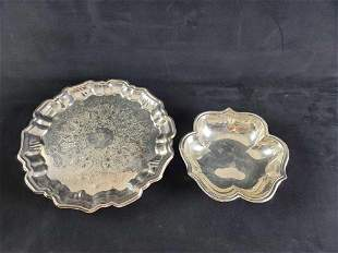Reed Barton Leonard Bowl and Serving Tray Silver Plated