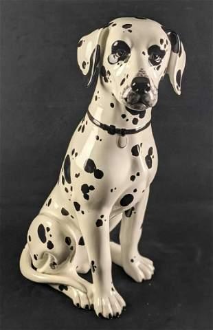 """Large 21 1/2"""" Italian Porcelain Sitting Dalmatian Dog"""