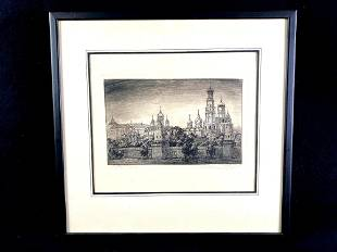 Lithograph of a European cathedral