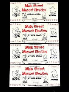 Set of (4) Disney Main Street Mascot Election Tickets