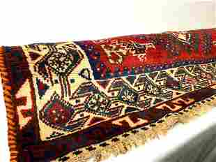 Colorful Vintage Tribal Pattern Red Blue Wool Hand