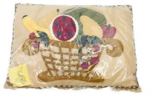 Hand Sewn Bethany Lowe Harvest Basket Throw Pillow