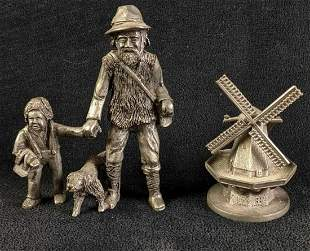 Pewter Figurines From Holland Windmill and People