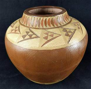 Native American Style Etched Ceramic Pot