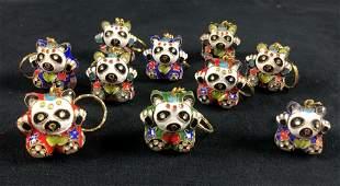 Chinese Art Panda Bears Keychains Metal Lot Of 10
