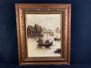 Original Oil on Canvas Nautical Painting Signed Framed,