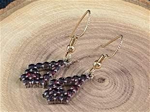 Vintage Sterling Silver Garnet Earrings