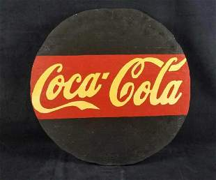 Round Wooden Coca Cola Sign Handmade 1