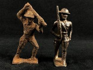 """Very Cool Antique Cast Iron Unpainted WWII 3"""" Soldiers"""