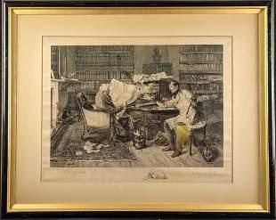 """James Dobie """"A Little Mortgage"""" Engraving After Walter"""