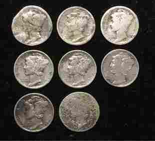 Lot of 8 Mercury Dimes