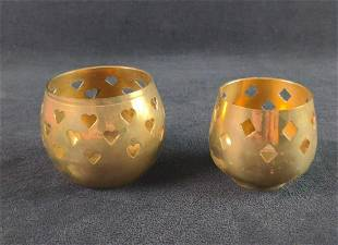 Vintage Brass Tea Candle Holders From India