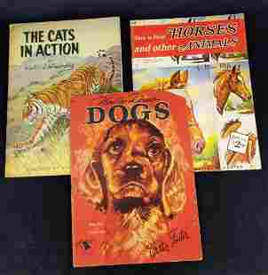 3 Vintage How To Draw And Paint Art Books Dogs