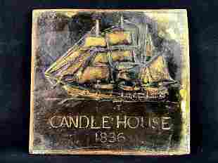 """Vintage Replica Plaster """" Candle House 1836 """" Sign"""