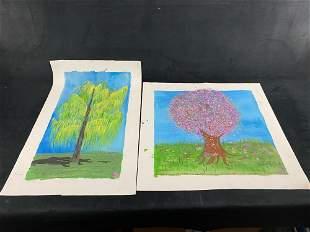 Original Signed Leida Diaz Acrylic On Canvas Nature