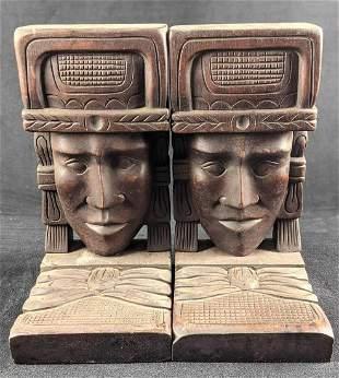 Vintage Honduran Folk Art Wooden Head Bookends