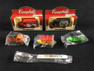 5 Food Brand Die-Cast Souvenirs and One Spoon