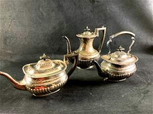 Set of (2) Silver Plate Tea Pot and Vase