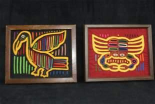 Two Framed Hand Stitched Applique Art Works